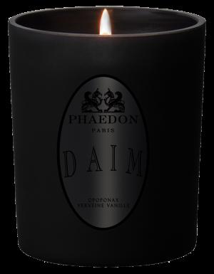 DAIM, PHAEDON PARIS, Bougie parfumée, Parfum Cuir, Vanille et boisé, puissant et diffusant, Opoponax, Cuir & Vanille